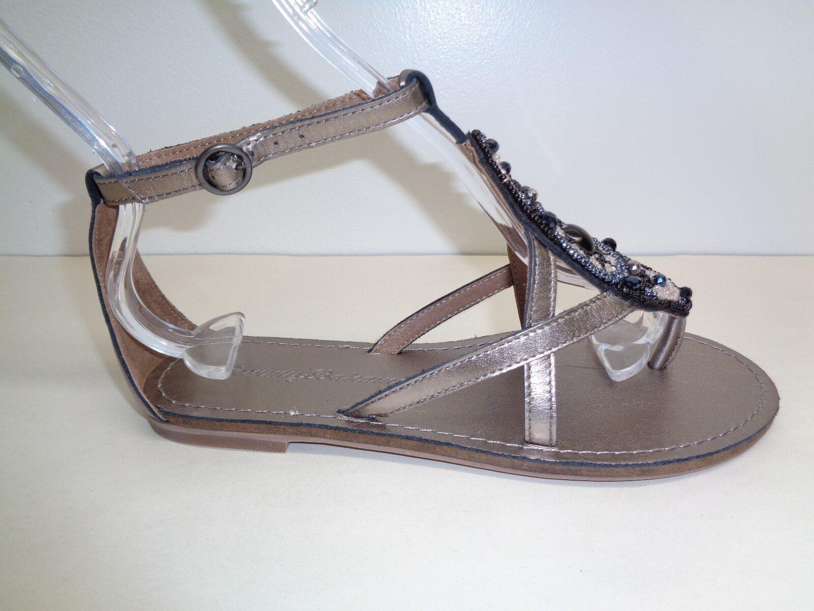 Tommy Bahama Größe 7 PRIMROSE Pewter Gray Leder Beads Sandales NEU Damenschuhe Schuhes