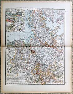 Original-1898-Map-of-Hanover-Schleswig-Holstein-amp-Lesser-North-German-States