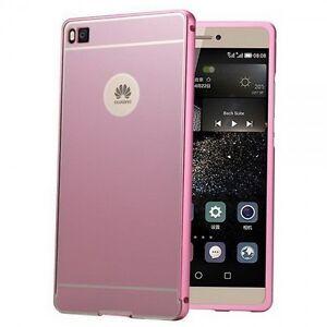 Pare-Chocs-en-Aluminium-2-Elements-avec-Couverture-Rose-pour-Huawei-Ascend-P8