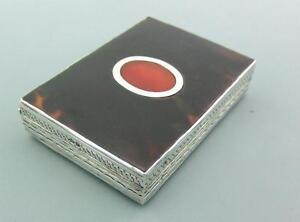 ANTIQUE-STERLING-SILVER-SHELL-amp-CARNELIAN-LARGE-TRINKET-BOX-1927