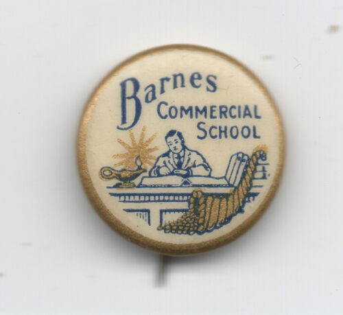 1920s Celluloid Pinback for Barnes Commercial School