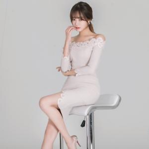 online store 2872d ddc23 Dettagli su Elegante vestito abito corto bianco spacco tubino maniche  lunghe comodo 3392