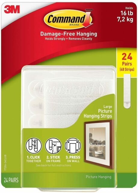 Command Picture Frame Home Hanging Photo Strips Secure Hold Tight Large 24 Pair