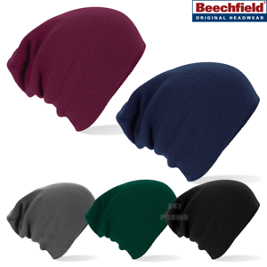 97f5b4b9 Image is loading Beechfield-BEANIE-SLOUCH-HAT-OVERSIZED-STYLE-SOFT-RIBBED-