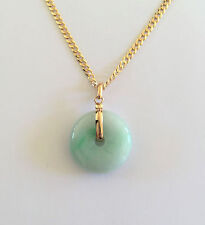 18K Yellow Gold Round Donut Natural Jade Pendant - P408