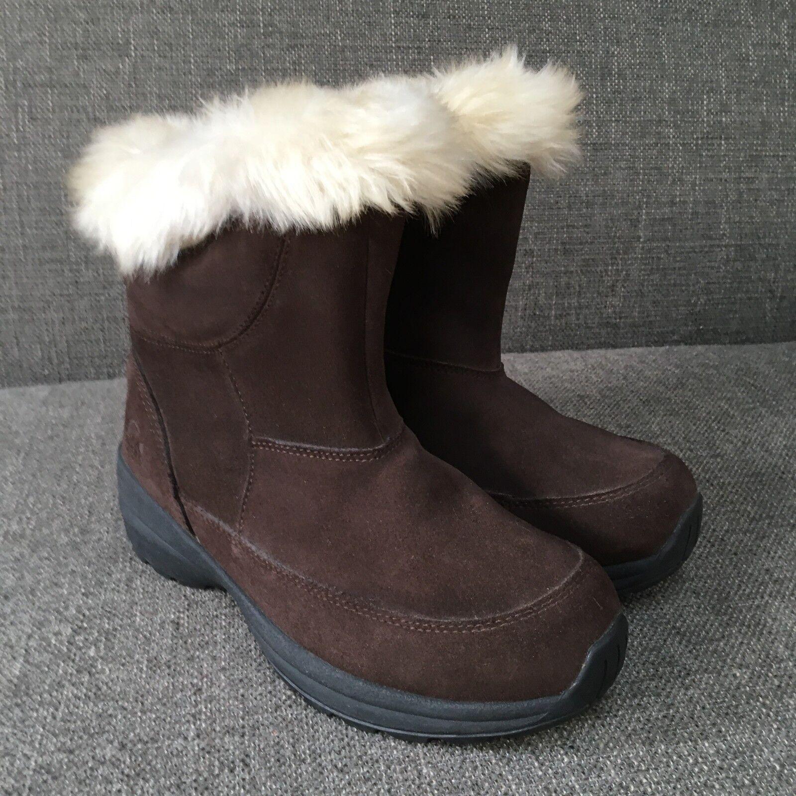 Sorel Damenschuhe Braun Suede Insulated Northern Lite Winter Boot Faux Fur Trim Zip 9