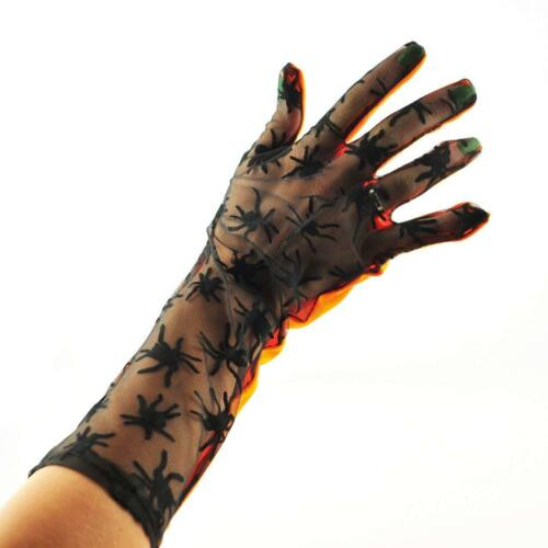 New Orange /& Black Spiders Gloves Elbow Length Ladies Fancy Dress Halloween Goth