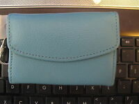Talbots Turquoise Blue Pebble Leather Wallet With Key Ring Attached With Tag