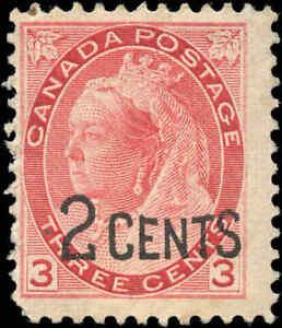 Canada-Mint-H-F-Scott-88-1899-2c-on-3c-Provisional-Stamp