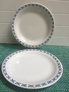 Rorstrand Bla Vinge Mon Ami 2 Dinner Plates Blue White Knife