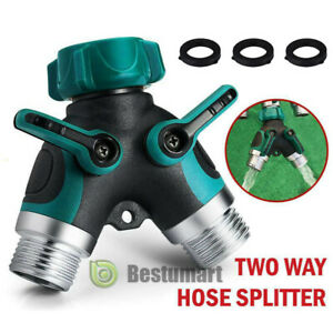 "2 pcs  2 Way Heavy Duty Garden Hose Splitter 3//4/"" Y Valve Water Pipe Connector"