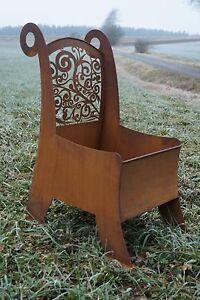 Edelrost stuhl ornament pflanzstuhl garten terrasse for Stuhl deko garten