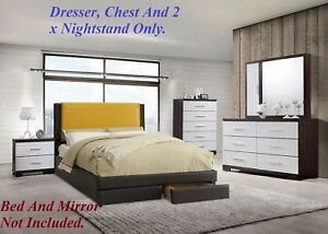 Details about White / Brown Dresser 2 x Nightstand Chest Modern Bedroom  Furniture 4pc Set