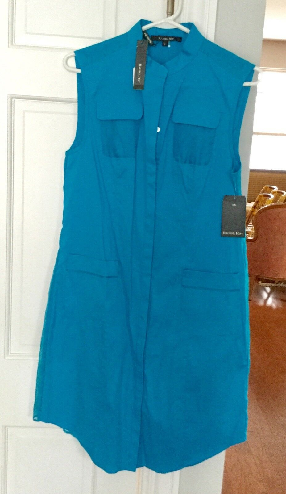 RACHEL ROY Turquoise Shirt Dress- Sz 6 - Cotton Blend w  Silk - Sleeveless - NWT