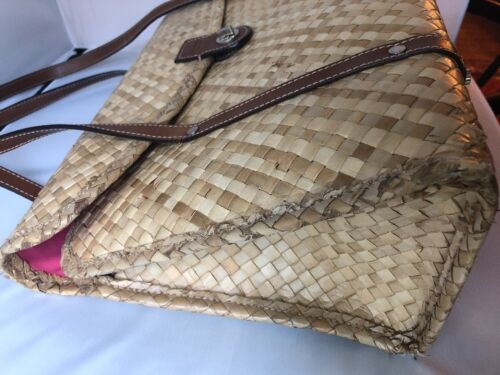 3dfdf317c8f 3 of 12 Kate Spade Vintage Woven Bamboo straw wicker bag shopper tote  leather straps 90s