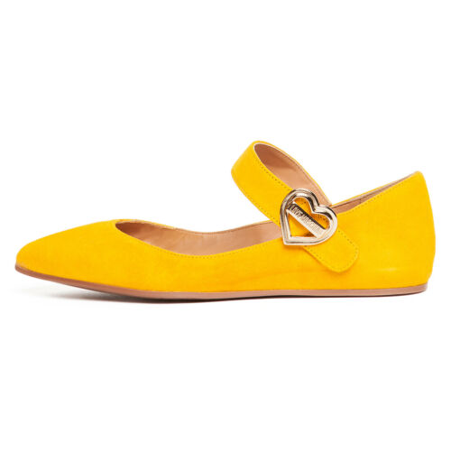 Details about  /Love Moschino Yellow Pointed Toe Mary Jane Flats