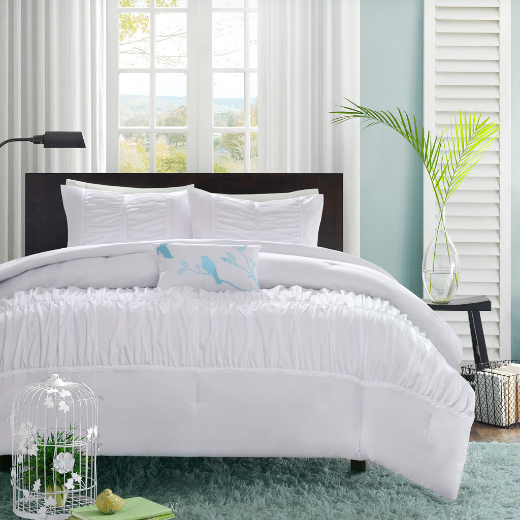 BEAUTIFUL MODERN SOFT RUFFLE PLEAT RUCHED Weiß AQUA COMFORTER SET & PILLOW NEW