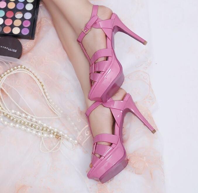 Zapatos de Para fiesta Tacones Altos Tacones De Aguja Charol Para de Mujer Correa T Plataforma romana Talla eec05e