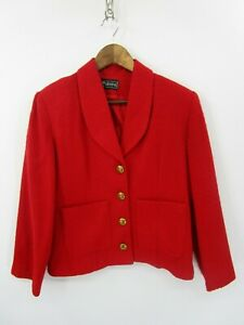 MJ-Stevens-Vintage-Women-039-s-Red-Tweed-Blazer-Jacket-Size-8