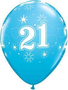 "10 x Age 21-A-Round 21st Birthday Diamond Clear 11/"" Qualatex Latex Balloons"