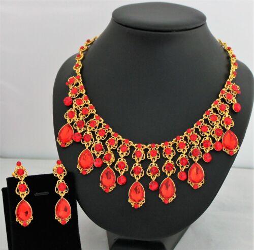 Schmuckset Damen Ohrringe Kette Collier Kristall Strass Gold rot 2tlg NEU