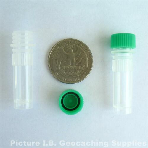 1ml Plastic Bison Tubes, Green Cap 20 O-ring Geocache Nano Containers