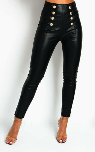 IKRUSH Womens Donna Double Button Faux Leather Trousers