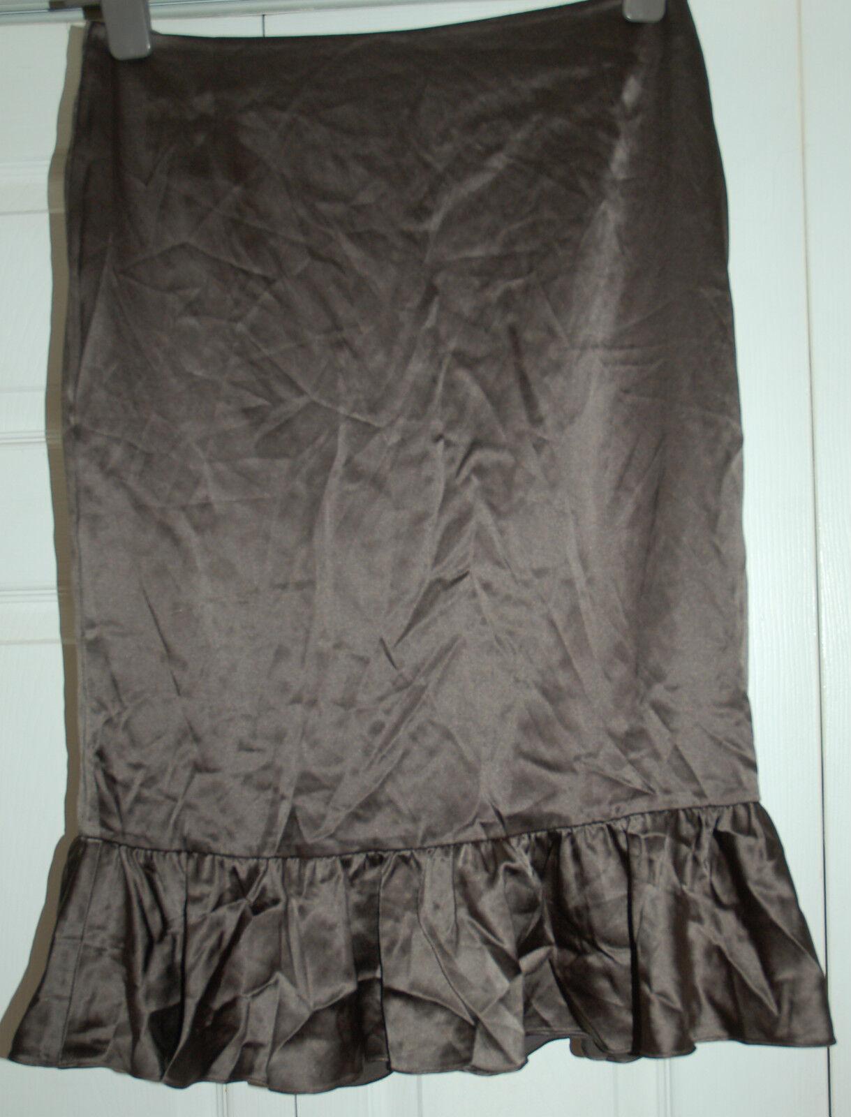 NEW Sz 10 Episode 95% Silk Grey Pencil Skirt Peplum Hem Gift party