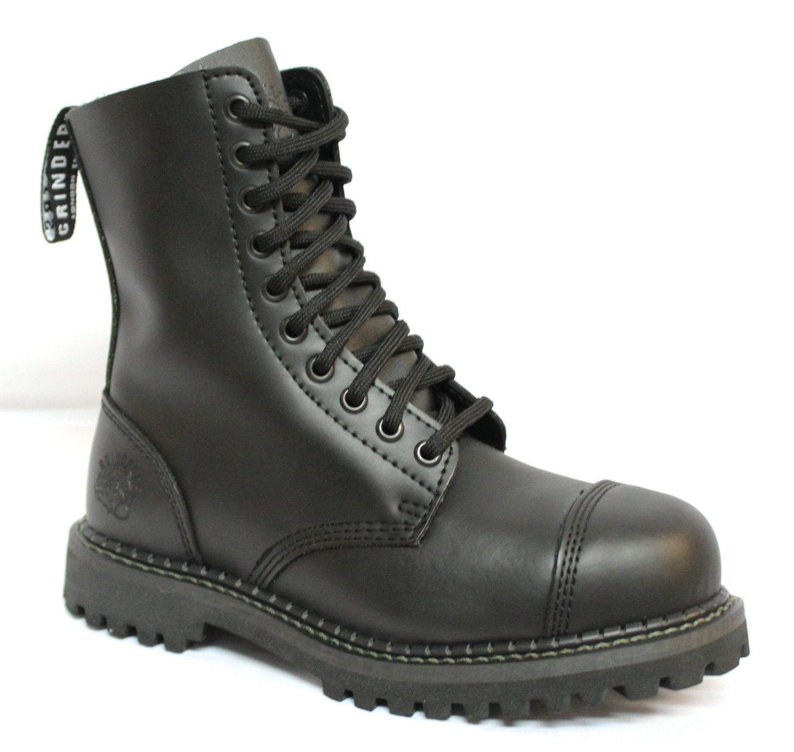 Grinders Hunter Stag CS Unisex Negro Laceup Cuero Botas Cuero Laceup Combate Goth uniforme dc592b