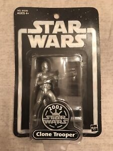 2003 SDCC Star Wars 4/'/' CLONE TROOPER Silver Saga Edition Hasbro New Loose