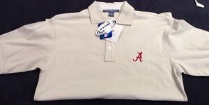 University of Alabama Mens Tan Short Sleeve Polo With Embroidered Script A