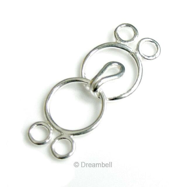 1 Set Sterling Silver 9mm Round Circle Clasp Ring Hook And Eye 2 Row / Strand