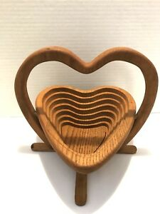 Details About Handmade Heart Shaped Collapsible Wooden Bowlbaskettrivet