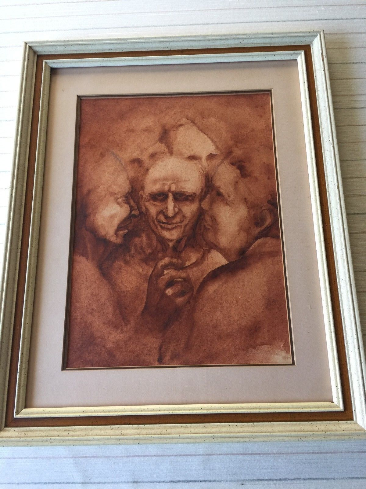 """Original Watercolor Painting Portrait of People, Signed, Framed, 10 1/2"""" x 14"""" 2"""