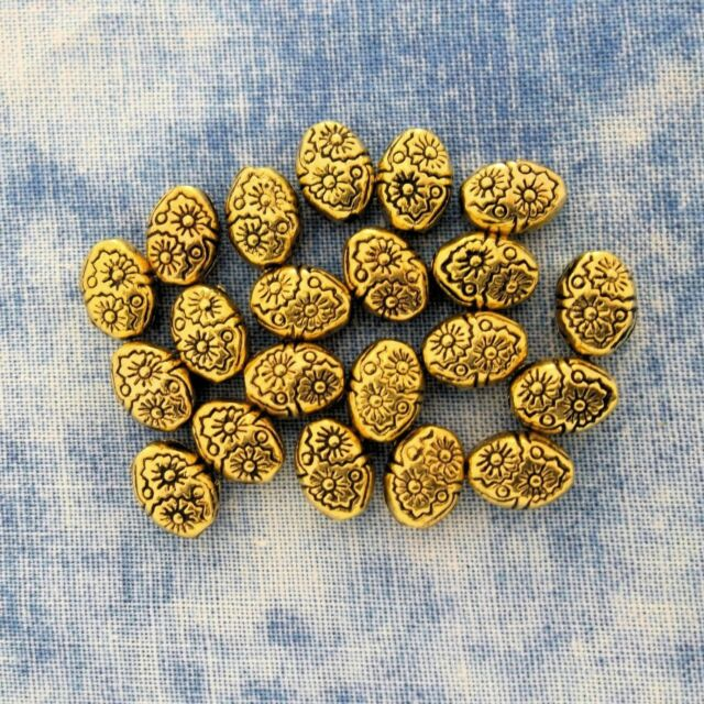 Antique Gold Alloy Metal Oval Beads/Spacers 30 Piece 5.7mm x 7.7mm  #0602