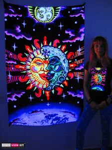 Details About Sun Moon Aum Psychedelic Art Uv Black Light Tapestry Wall Hanging Backdrop Deco