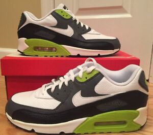 8a38a8e44fc52 Nike Air Max 90 LTR White Black Fierce Green 652980-103 Mens Size 13 ...