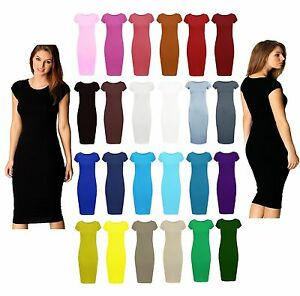 New-Womens-Ladies-Bodycan-Cap-Sleeve-Midi-Dress-Stretch-Plain-Jersey-Plus-Size