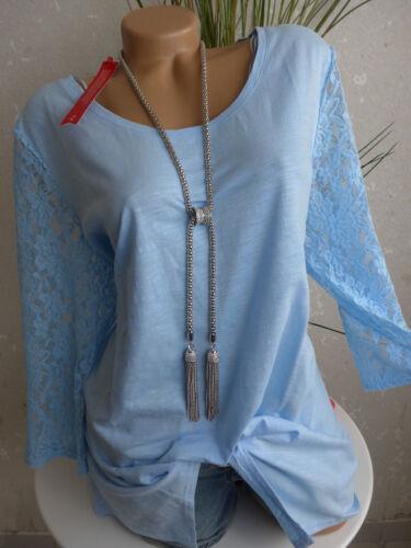 790 44//46 und 52//54 Blau mit Spitze Sheego Shirt Tunika Zipfelform Gr NEU