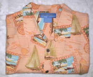 Mens-XL-BERMUDA-BAY-SS-Button-SHIRT-Peach-amp-Turquoise-Tropical-Sail-Hawaiian-FUN