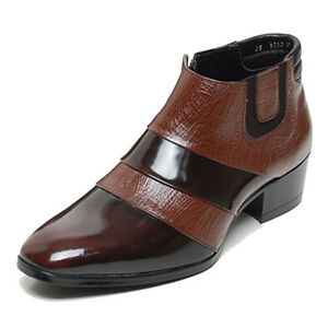 New-Mens-Genuine-Leather-Shoes-Dress-Formal-Business-Casual-Two-Tone-Ankle-Boots