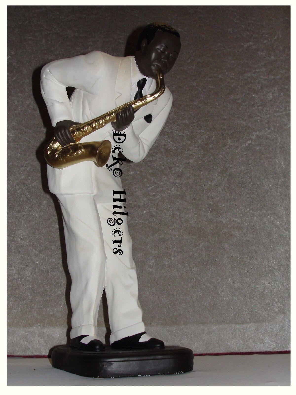 Saxophon Figur Jazz Musiker Skulptur Jazzfigur Afrika Musik Werbefigur Deko 01