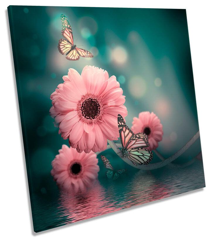 GERBERA Floreale Fiore Fiore Fiore Farfalla Quadrato Tela Wall Art Print Picture c34dd1