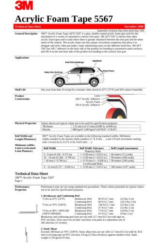 "3M VHB 5567 24/'X1//4/"" Double Sided Acrylic Foam Automotive Attachment Tape"