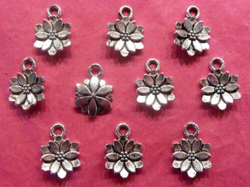 Tibetan Silver Flower Charms 10 per pack