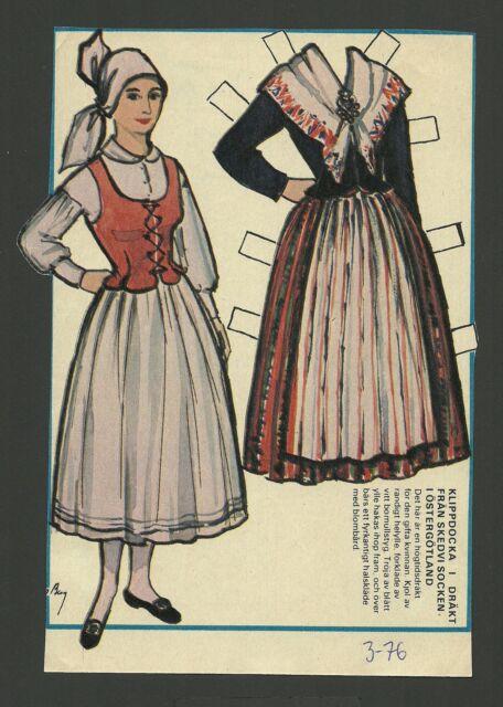 Female Costume Ostergotland Sweden Vintage Swedish Paper Doll Look!