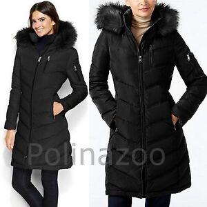 Calvin Klein winter down slim coat Faux Fur Trimmed Hooded Black ...