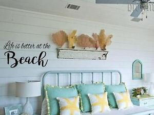 Life Is Better At The Beach Vinyl Wall Decal Wall Quote Lettering Art Sticker Ebay