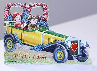 "Vintage Valentine Car Stand Up Germany ""To One I Love"" pencil inscription back"