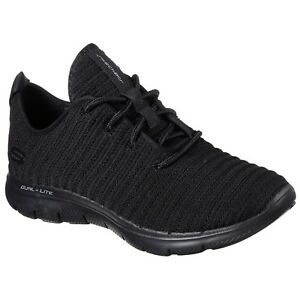 Flex 0 Shoes Up Trainers 2 Lace Ladies Black 12899 Skechers Estates Appeal 5wqz4x7